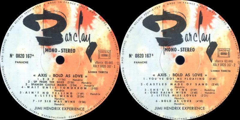 Discographie : Made in Barclay AxisBoldAsLoveLabelBarclay