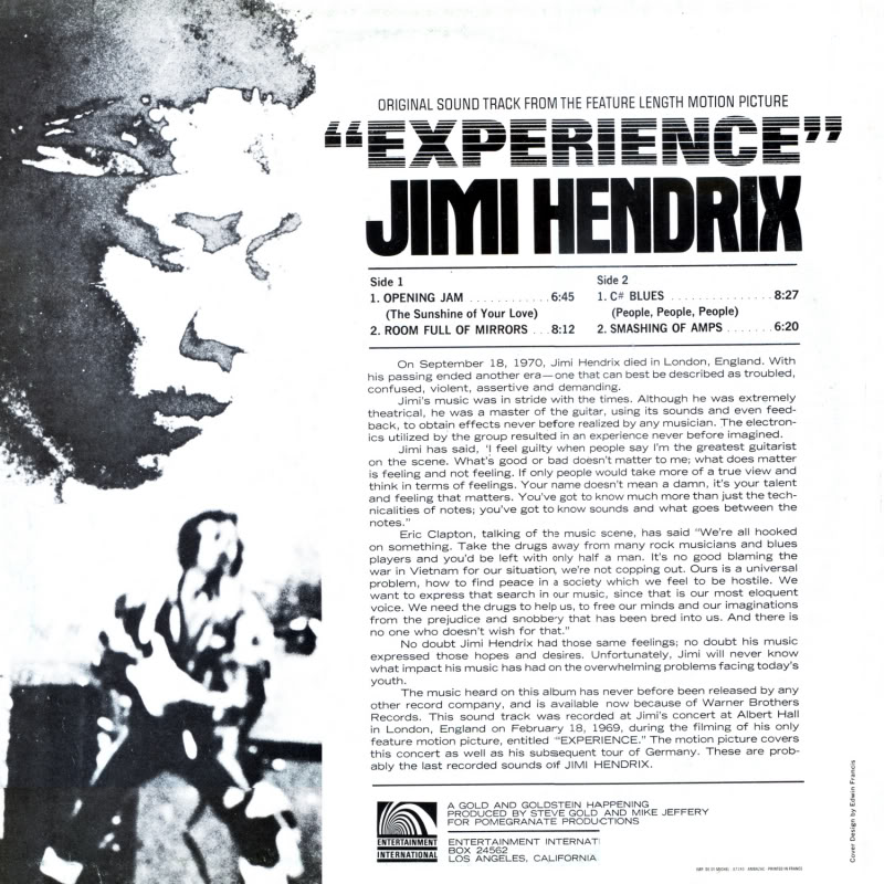Londres (Royal Albert Hall) : 24 février 1969 Experiencevol1intrieurgauche