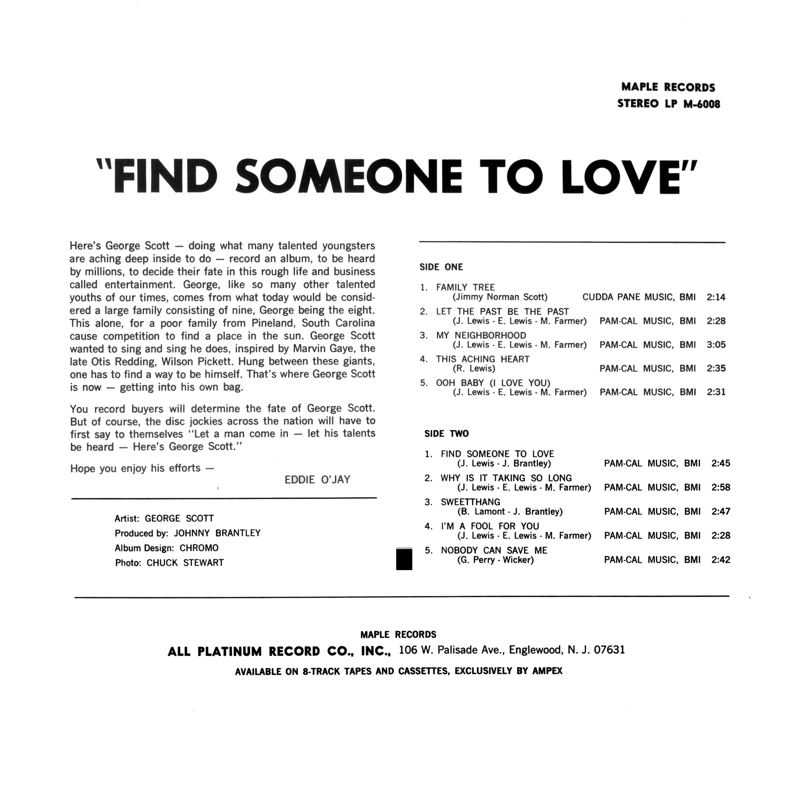 Discographie : Enregistrements pré-Experience & Ed Chalpin  - Page 4 GeorgeScott-FindSomeoneToLoveBack