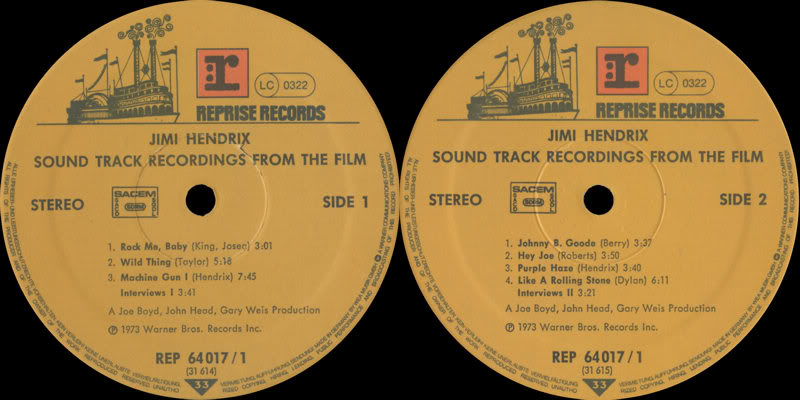 Sound Track Recordings From The Film Jimi Hendrix (1973) JimiHendrixSoundtrackRecordingsFromTheFilmLabel1