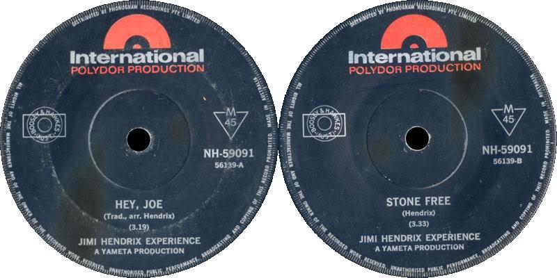 Discographie : 45 Tours : SP,  EP,  Maxi 45 tours 1966%20Polydor%20InternationalNH-59091-HeyJoe-StoneFree