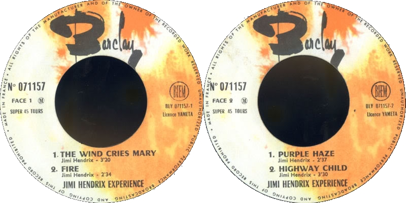 Discographie : Made in Barclay 1967%20EP%20Barclay%20071157-TheWindCriesMary-Fire-PurpleHaze-HighwayChildLabel