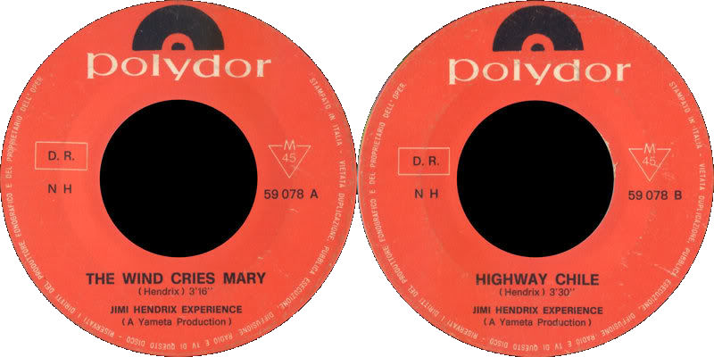 Discographie : 45 Tours : SP,  EP,  Maxi 45 tours 1967%20Polydor%2059078-TheWindCriesMary-HighwayChile%20Italie
