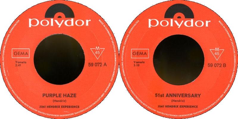 Discographie : 45 Tours : SP,  EP,  Maxi 45 tours - Page 3 1967%20Polydor59072-PurpleHaze-51stAnniversary