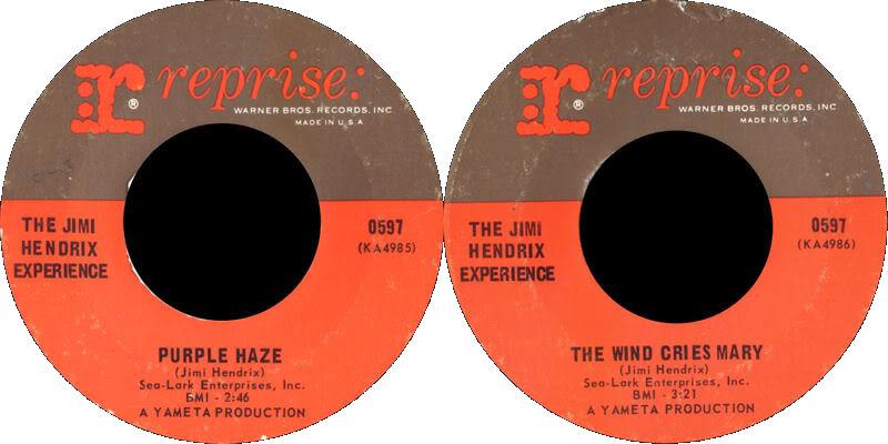 Discographie : 45 Tours : SP,  EP,  Maxi 45 tours 1967%20Reprise%200597-PurpleHaze-TheWindCriesMary