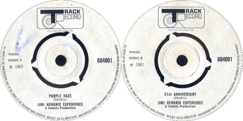 Discographie : 45 Tours : SP,  EP,  Maxi 45 tours 1967%20Track%20604001%20PurpleHaze-51stAnniversary%20Blanc