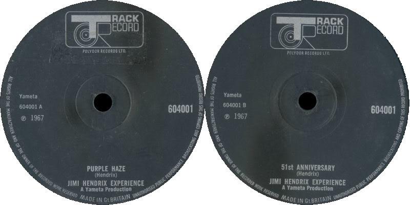Discographie : 45 Tours : SP,  EP,  Maxi 45 tours 1967%20Track%20604001-PurpleHaze-51stAnniversarylabelnoir