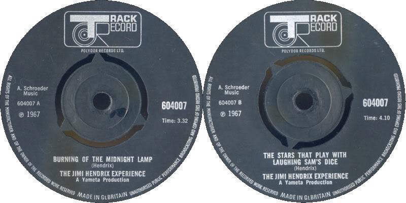 Discographie : 45 Tours : SP,  EP,  Maxi 45 tours 1967%20Track%20604007-BurningOfTheMidnightLamp-TheStarThatPlayWithLaughingSamsDice