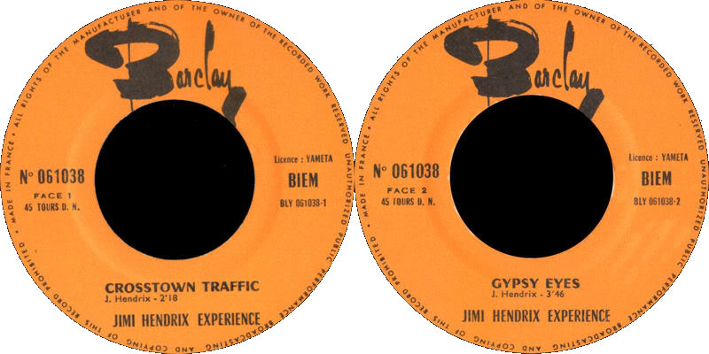 Discographie : Made in Barclay - Page 2 1968%20Barclay%20061038CrosstownTraffic-GypsyEyesLabel2