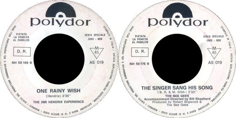 Discographie : 45 Tours : SP,  EP,  Maxi 45 tours 1968%20Polydor%20AS019-JHOneRainyWish-BeeGeesTheSingerSangHisSong