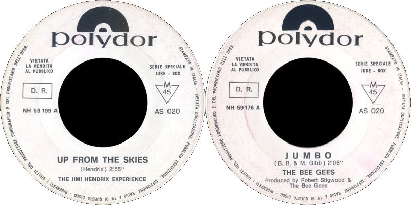 Discographie : 45 Tours : SP,  EP,  Maxi 45 tours 1968%20Polydor%20AS020-JHUpFromTheSkies-BeeGeesJumbo