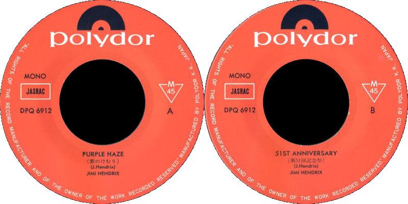 Discographie : 45 Tours : SP,  EP,  Maxi 45 tours - Page 6 1968%20Polydor%20DPQ6912-PurpleHaze-51stAnniversaryLabel