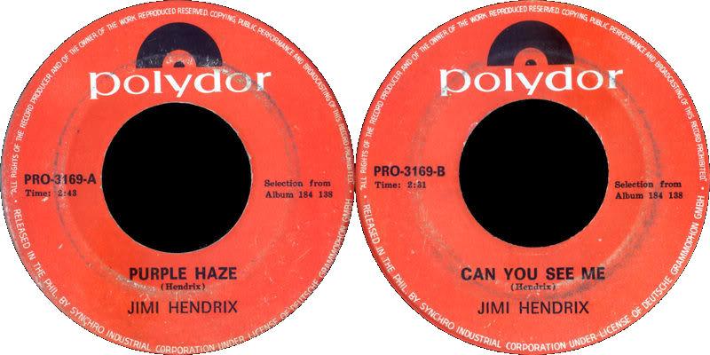 Discographie : 45 Tours : SP,  EP,  Maxi 45 tours 1968%20Polydor%20PRO3169-PurpleHaze-CanYouSeeme