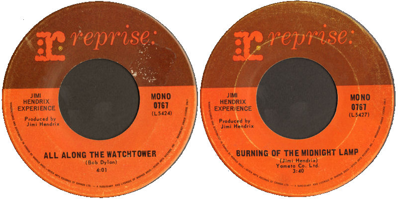 Discographie : 45 Tours : SP,  EP,  Maxi 45 tours 1968%20Reprise%200767%20AlongTheWatchtower-BurningOfTheMidnightLamp%20Canada