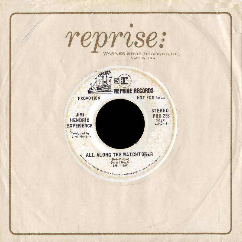 Discographie : 45 Tours : SP,  EP,  Maxi 45 tours 1968%20Reprise%20PRO293-BurningOfTheMidnightLamp-AllAlongTheWatchtowerBack