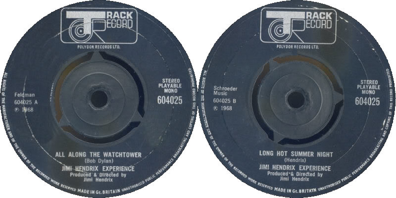 Discographie : 45 Tours : SP,  EP,  Maxi 45 tours 1968%20Track%20604025-AllAlongTheWatchtower-LongHotSummerNight