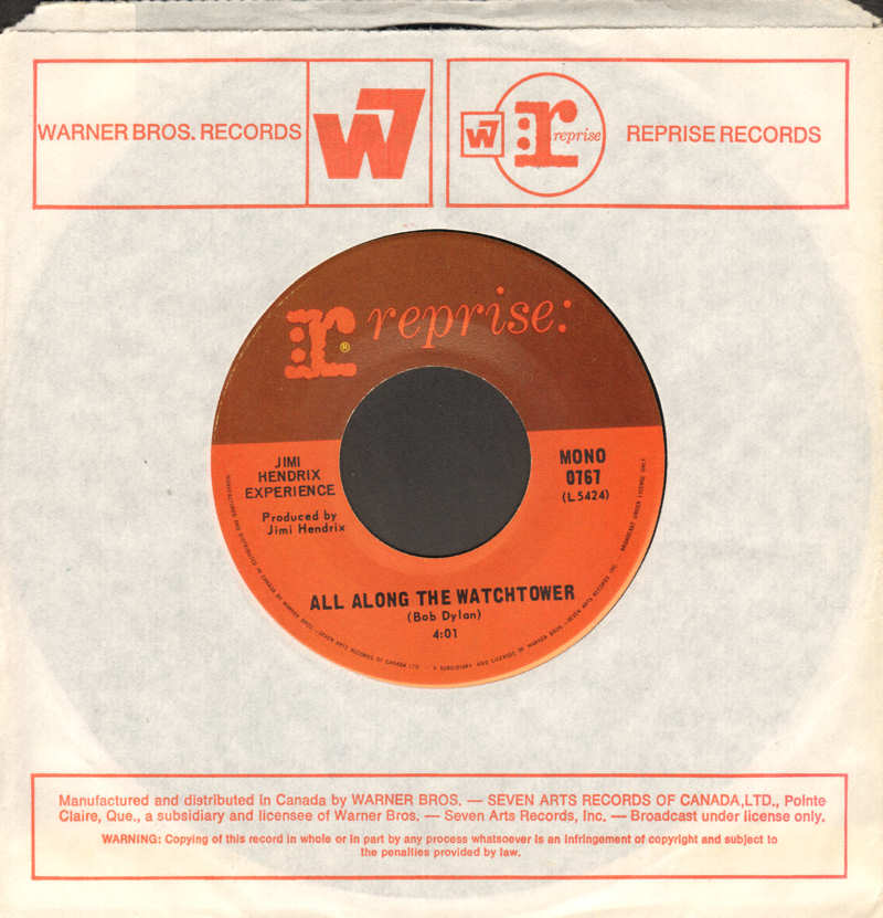 Discographie : 45 Tours : SP,  EP,  Maxi 45 tours 1968-Reprise0767-AllAlongTheWatchtowerMono