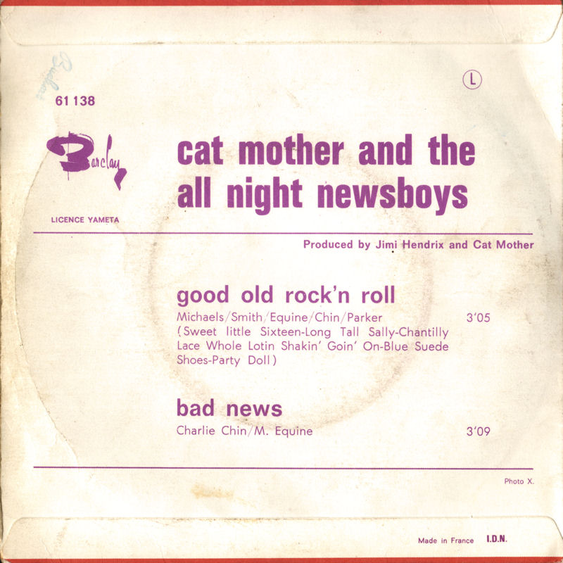 Discographie : 45 Tours : SP,  EP,  Maxi 45 tours - Page 11 1969 Barclay061138-CatMothersampTheAllNightNewsboys-GoodOldRocknRoll-BadNewsBack