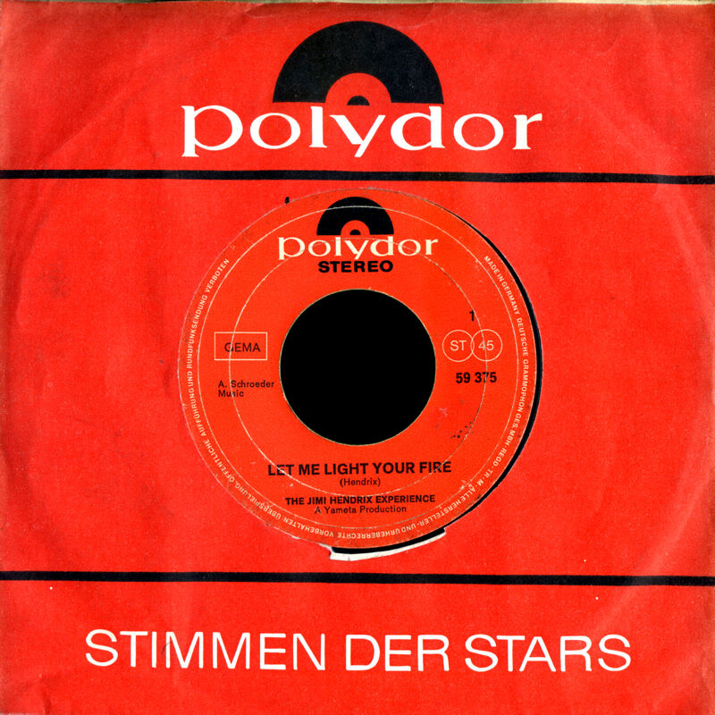 Discographie : 45 Tours : SP,  EP,  Maxi 45 tours 1969%20Polydor%2059375-LetMeLightYourFire-TheBurningOfTheMidnightLampFront%20Germany