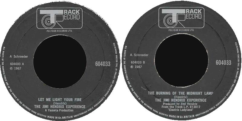 Discographie : 45 Tours : SP,  EP,  Maxi 45 tours 1969%20Track%20604033-LetMeLightYourFire-TheBurningOfTheMidnightLamp