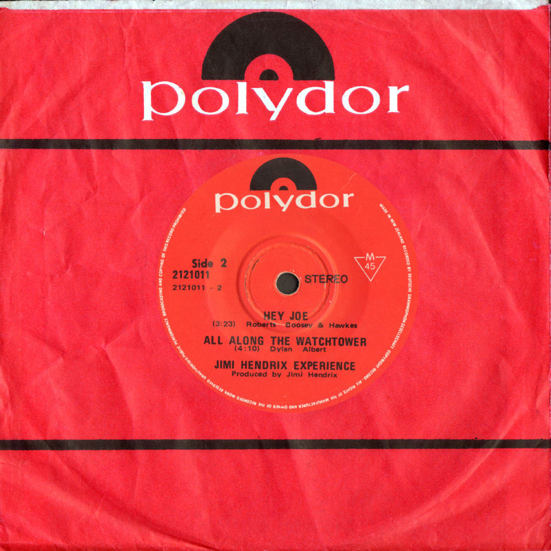 Discographie : 45 Tours : SP,  EP,  Maxi 45 tours 1970%20Polydor%202121011VoodooChile-HeyJoe-AllAlongTheWatchtowerNewZealandFront