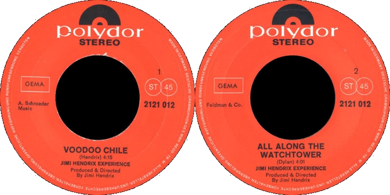 Discographie : 45 Tours : SP,  EP,  Maxi 45 tours 1970%20Polydor%202121012VoodooChile-AllAlongTheWatchtowerLabel