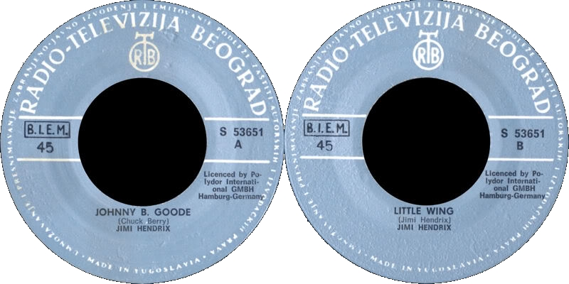 Discographie : 45 Tours : SP,  EP,  Maxi 45 tours - Page 5 1972%20RTB-Polydor%20S53651-JohnnyBGoode-LittleWingYougoslavieLabel