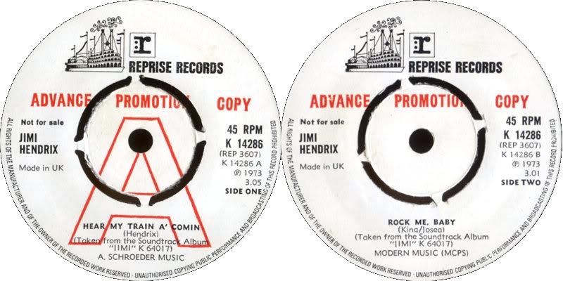 Discographie : 45 Tours : SP,  EP,  Maxi 45 tours 1973%20Reprise%20K14286-HearMyTrainAComin-RockMeBabyPromo