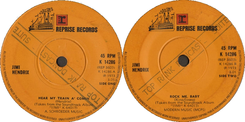 Discographie : 45 Tours : SP,  EP,  Maxi 45 tours 1973%20Reprise%20K14286HearMyTrainAComin-RockMeBabyEngland