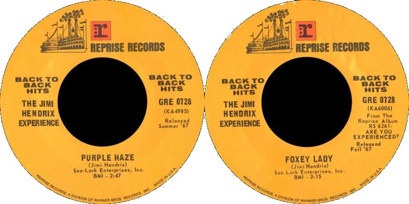 Discographie : 45 Tours : SP,  EP,  Maxi 45 tours 1975%20Reprise%20GRE0728-PurpleHaze-FoxyLady