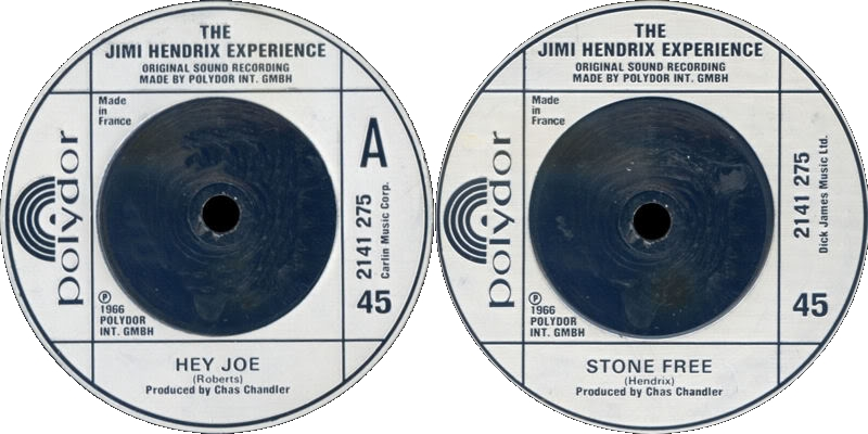Discographie : 45 Tours : SP,  EP,  Maxi 45 tours 1980%20Polydor%202141275-HeyJoe-StoneFreeEngland