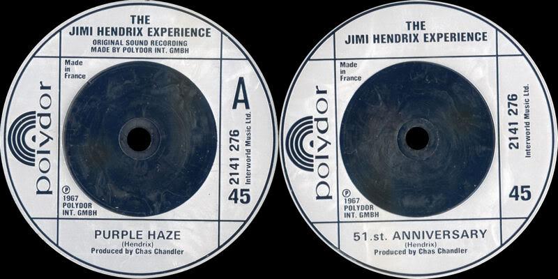 Discographie : 45 Tours : SP,  EP,  Maxi 45 tours 1980%20Polydor%202141276-PurpleHaze-51stAnniversary