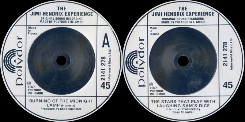 Discographie : 45 Tours : SP,  EP,  Maxi 45 tours 1980%20Polydor%202141278-BurningOfTheMidnightLamp-TheStarsThatPlayWithLaughingSamsDice