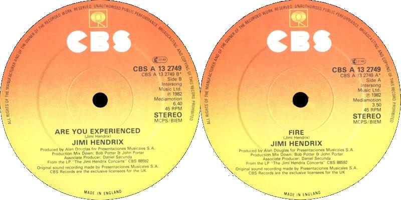 Discographie : 45 Tours : SP,  EP,  Maxi 45 tours 1982%20CBS%20A13-2749-Fire-AreYouExperiencedLabel