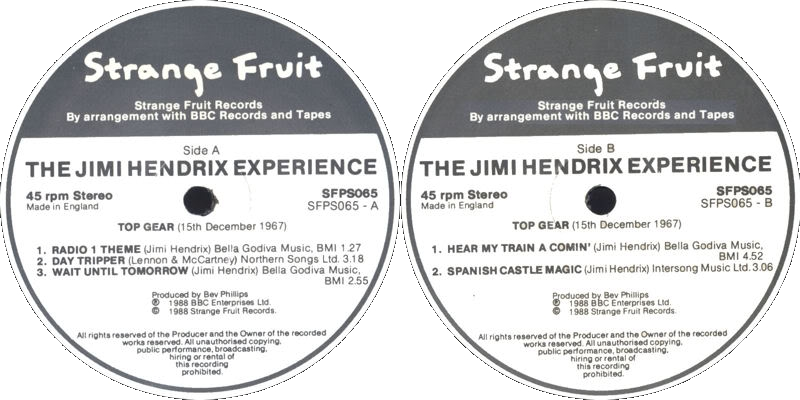 Discographie : 45 Tours : SP,  EP,  Maxi 45 tours - Page 3 1988%20Strange%20Fruit%20SFPS065-DayTripper-WaitUntilTomorrow-HearMyTrainaComing-SpanishCastlemagicLabel