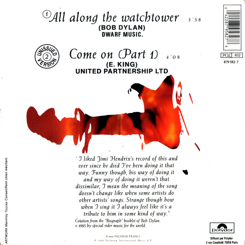 Discographie : 45 Tours : SP,  EP,  Maxi 45 tours - Page 6 1991%20Polydor%20879582-7-AllAlongTheWatchtower-ComeOnpart1Back