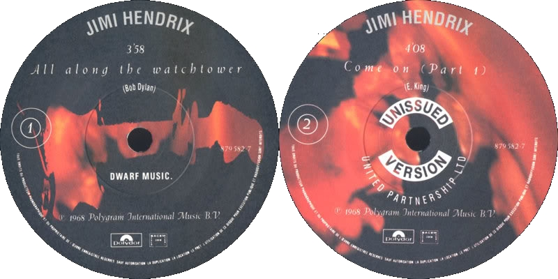 Discographie : 45 Tours : SP,  EP,  Maxi 45 tours - Page 6 1991%20Polydor%20879582-7-AllAlongTheWatchtower-ComeOnpart1Label
