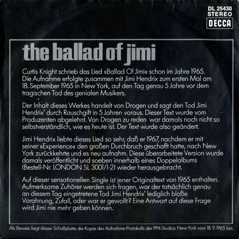 Discographie : Enregistrements pré-Experience & Ed Chalpin  - Page 3 DeccaDL25430-TheBalladOfJimiBack
