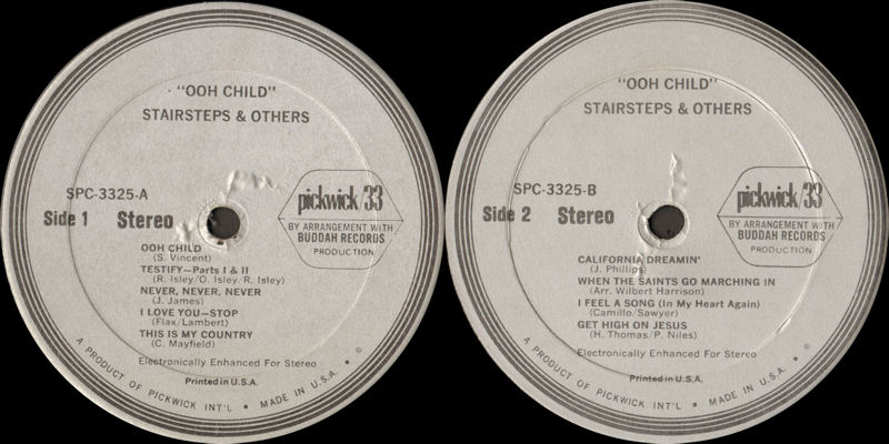 Discographie : Rééditions & Compilations - Page 11 PickwickSPC3325-StairStepsampOtherLabel_zps9f594c7f